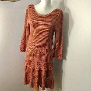 MODA INTERNATIONAL crocheted open back dress.